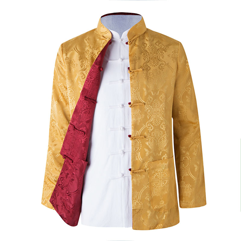 Umorden Long Sleeve Two Sided Traditional Chinese Clothes Tang Suit Top Spring Men Silk Embroidery Jacket
