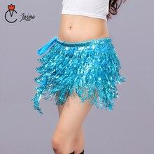 12 Colors Women Belly Dance Clothing Accessories Tassel Belts Hip Scarf Sequins Belt