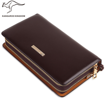 Kangaroo Kingdom Luxury Men Clutch Bags Split Leather Handbag Double Zipper Business Mens Hand Bag Brand
