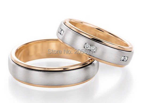 2014 classic bicolor custom rose gold plating health titanium unique wedding band couples promise ring 2014 latest yellow gold plating bicolor titanium engagement wedding rings designs for men and women anillos gold plating
