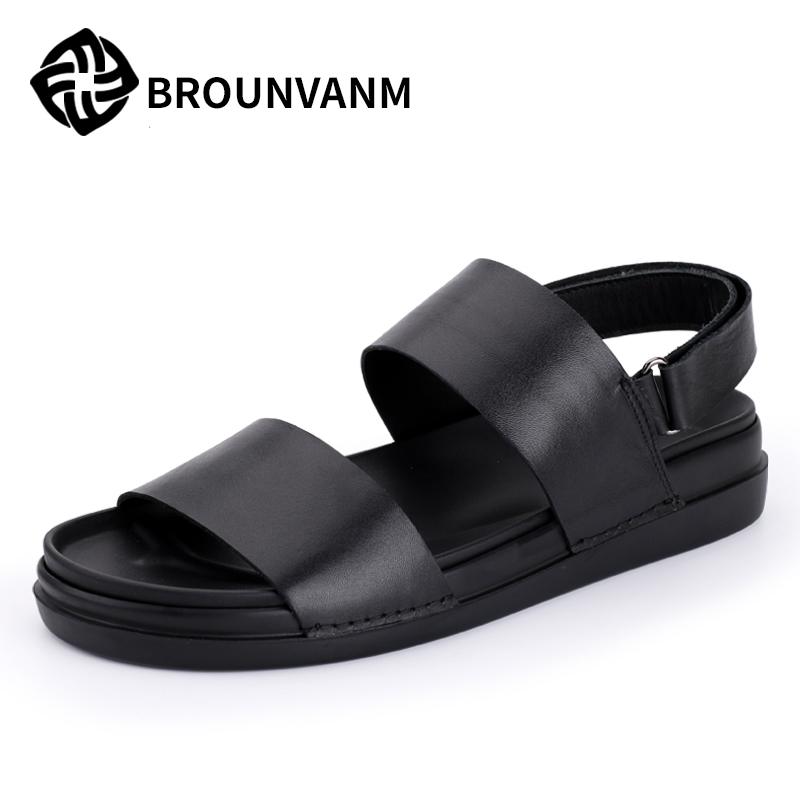Europe sandal male thick soled sandals in summer increased muffin man in Rome tide male leather sandals catwoman when in rome
