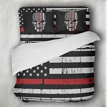 Classic American Flag Bedding Set Skull Duvet Cover King Queen Pillowcase Bedroom Decor 3Pcs Bedclothes