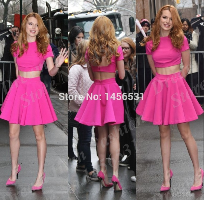 Awesome Bella Thorne Fuchsia Pink 2 Piece Prom Dresses Short Cap ...