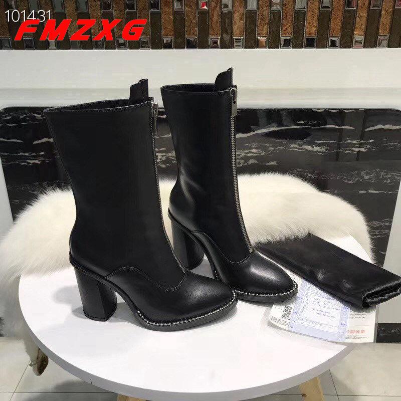 Talons Chaîne De Top Zipper Marque Femmes Boot Moto Mode Chaussures 6Cwnq14qP