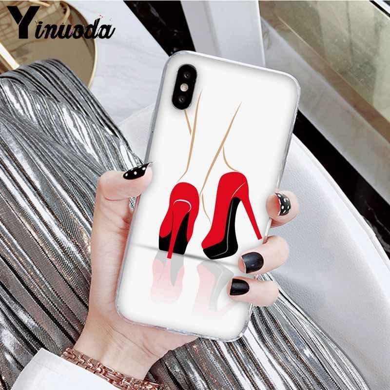 Yinuoda Kırmızı Yüksek Topuk Ayakkabı Yenilik Fundas telefon kılıfı Kapak için Apple iPhone 8 7 6 6S Artı X XS MAX 5 5S SE XR Kapak