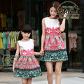 China Style 2016 New Summer Style Family Matching Outfits Mother and Daughter Printed Dresses Matching Family Clothes