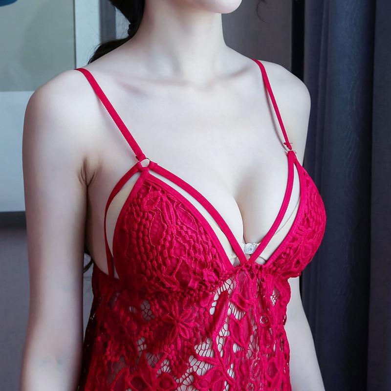 (Dress+T String)Spring Autumn Silk Sleepwear For Lady Sexy Home Nighties Apparel Lounge Solid Elegant Women Sleepwear Night Gown