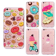 Ice Cream Print TPU Phone Case For iphone 5 5s SE 7 8 Case Soft Silicone Clear Transparent Cases For iphone 6 6S Cases cheap iPhone 6 Plus iPhone 7 Plus IPHONE 6S iPhone 5s IPHONE 8 PLUS iPhone 6s plus Iphone SE Floral Exotic Animal cute Patterned
