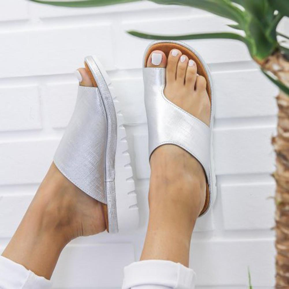 Women Comfy Plain Shoes Flat Platform Ladies Romes Casual Flip Flop Big Toe Foot Correction Sandals Orthopedic Bunion Corrector