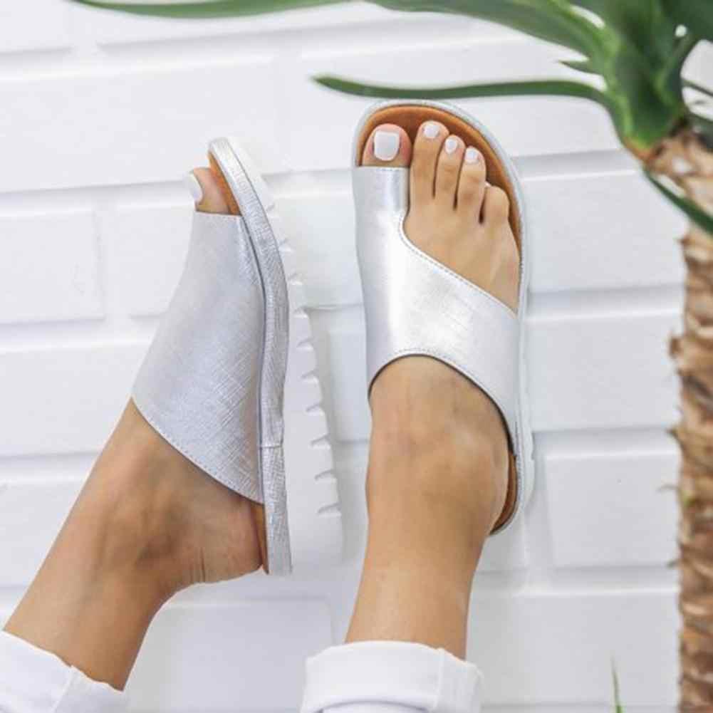 Удобная женская обувь на плоской платформе; женские повседневные Вьетнамки с большим носком; сандалии для коррекции ног; ортопедический корректор; Bunion