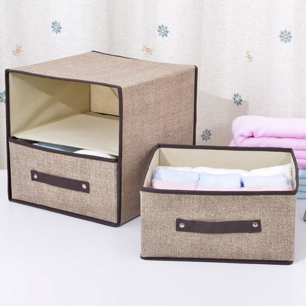 Non-woven Pattern underwear storage box with double drawer Bra Organizer Cosmetic Makeup ...