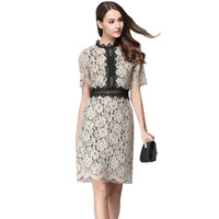 Runway Dresses 2017 Women High Quality Summer Black Lace Dress Short Sleeve Hollow Out Elegant Midi