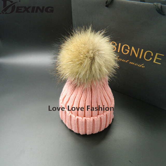 [Dexing]100% real  fur ball 15cm  thick knitted wool hat female warm winter hats for women Skullies Beanies fur pompom pompon