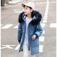 2018 Fashion Cold Winter Down Jackets for Girl clothes Raccoon parka real Fur Children Coats Warm Thick Kids Outerwear clothing