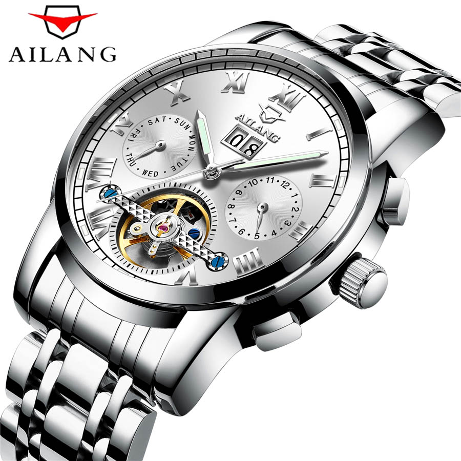 AILANG Top Brand Luxury Sport Men Watches Skeleton Military Tourbillon Mechanical Watch Waterproof Army Male Clock Relogio New ailang watch men s luxury brand self wind mechanical automatic men watches fashion waterproof alarm clock male