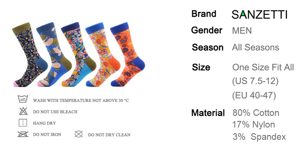 bfed659ed85 Happy Socks by SANZETTI 5 pari pak Colour men crew cotton socks ...