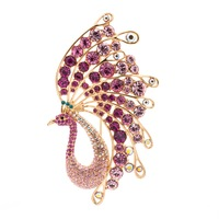 Real Austrian Crystals Rhinestone Pink Bird Peacock Brooch Broach Pin For Women Jewelry SBA4430 On Sale