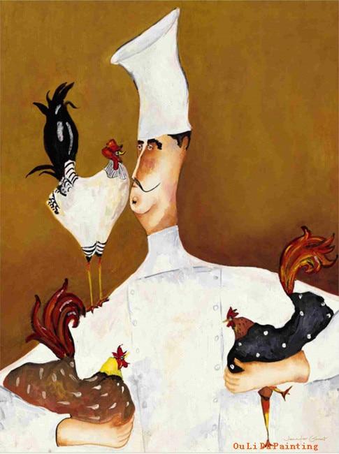 19c013cad5973 Frete grátis figura dos desenhos animados chefe de animais galo pintura a  óleo impressões pintura da lona na lona bar de parede arte decoração quadros