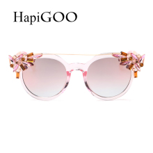 HAPIGOO Fashion Ladies Cat Eye Round Gradient Sunglasses Women Luxury Brand Designer Diamond Twin-Beams Sun Glasses For Female