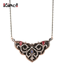 Kinel Boho Vintage Necklace For Women Hollow Full Crystal Flower Pendant Necklace Antique Gold Color Statement Jewelry(China)