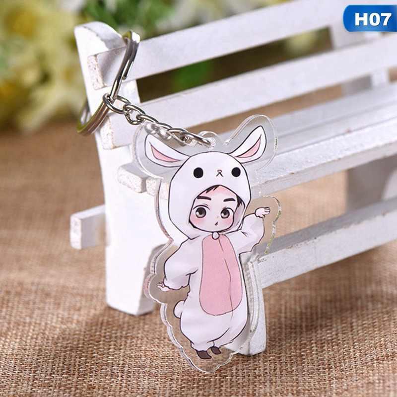 1PC Cute 9 Styles Cartoon EXO Acrylic Keychain Fashion Jewelry Accessories Cute Boys Shaped Pendants Keyring
