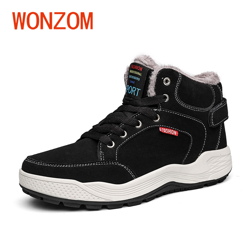 WONZOM 2017 New Snow Shoes Men High Quality Soft Rubber Boots Winter Men Fashion Cotton Warm Lace up Ankle Snow Boots Gift
