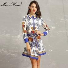 MoaaYina Fashion Designer Runway Dress Spring Women's Turn-down Collar Long sleeve Beading Floral-Print Asymmetrical Mini Dress цена в Москве и Питере