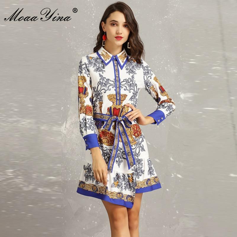 MoaaYina Mode Designer Runway Kleid Frühling frauen drehen unten Kragen langarm Perlen Floral Print Asymmetrische Mini kleid-in Kleider aus Damenbekleidung bei  Gruppe 1