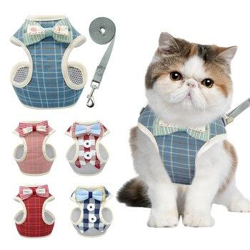 Bonito conjunto de arnés y correa para gatos, arnés de perrito de malla de nailon para mascotas, chaleco de ropa con Collar de gato de plomo para gatos pequeños, suministros para perros y gatitos para mascotas