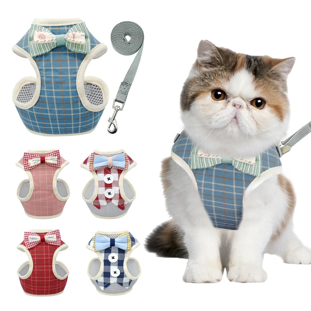 Energiek Leuke Kat Harness En Leash Set Nylon Mesh Puppy Harnas Lood Kat Kraag Kleding Vest Voor Kleine Katten Honden Kitten Dierbenodigdheden