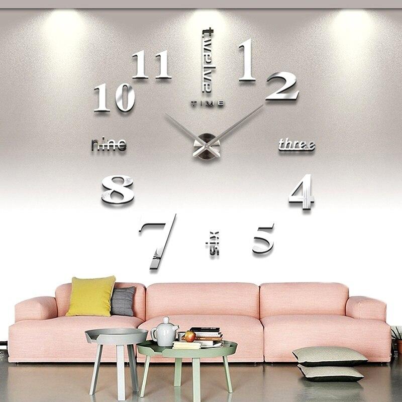 1Pc Creative DIY Acrylic 3D Wall Clock Mirror Sticker Modern Living Room Home Office Decor Wall Art Sticker