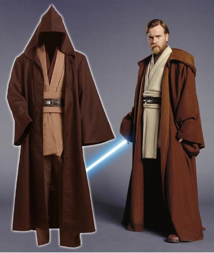 Star Wars Adult Men Obi-Wan Kenobi Tunic Jedi Knight Hooded Robe Cloack Whole Set Cosplay Costume Brown Version Halloween Plus
