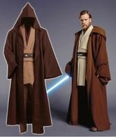 Star wars adulto homens obi-wan kenobi jedi túnica com capuz robe cloack whole set cosplay versão marrom halloween plus size