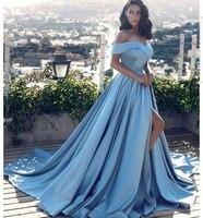 Элегантный синий Вечерние платья Длинные 2018 атлас с плеча Милая Щелевая Африканский Формальное вечернее платье на выпускной, вечернее плат