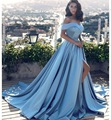 Elegant Blue <font><b>Evening</b></font> <font><b>Dresses</b></font> Long 2018 Satin Off Shoulder Sweetheart Slit African Formal <font><b>Evening</b></font> Gown Prom <font><b>Dress</b></font> Abendkleider