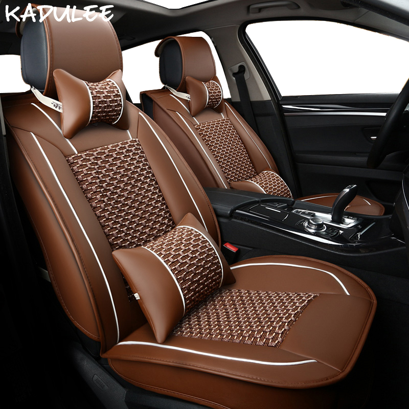 KADULEE ice silk car seat covers for hyundai elantra alfa romeo rx 460 lada lancia delta jeep compass ford courier car-styling image
