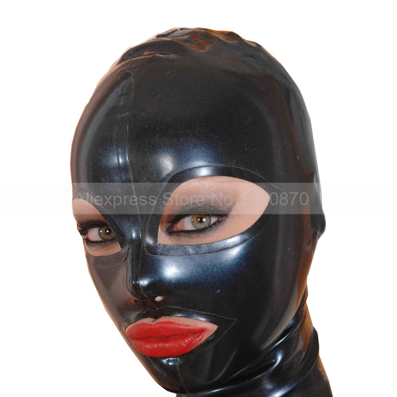 מוצק Black Latex Hood גומי Gummi יוניסקס נשים - תחפושות