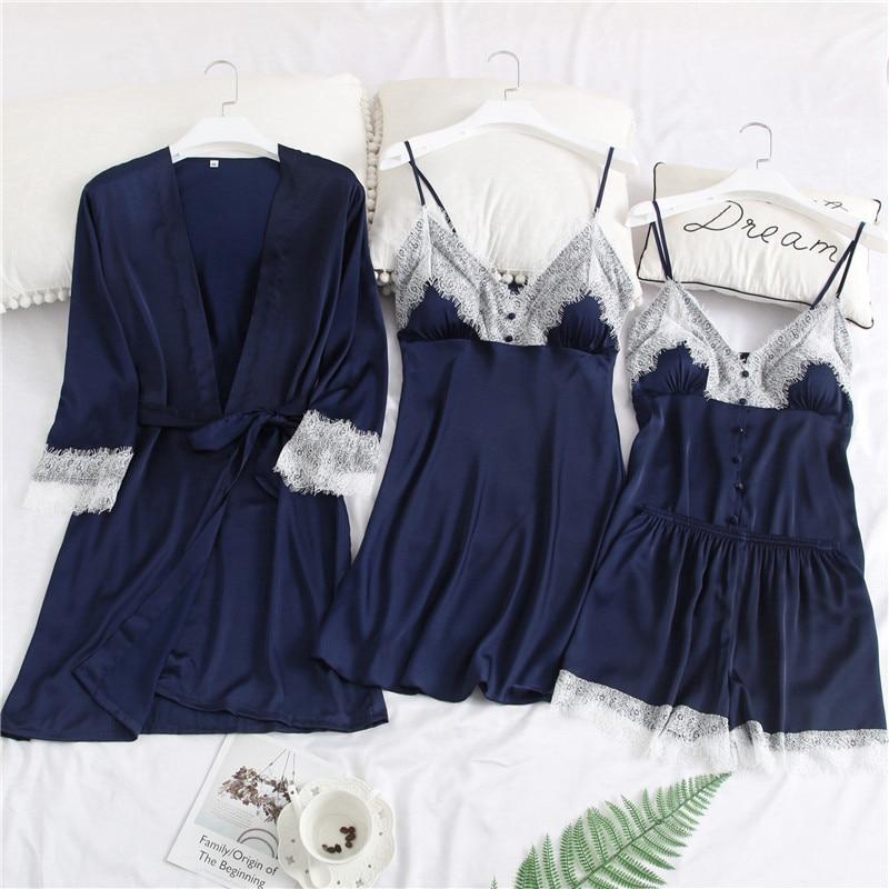 Spring New Satin 4PCS Cami&Shorts&Robe&Nighty Home Wear Women Pajamas Suit Casual V-Neck Sleepwear Set Sexy Nightwear M-XXL