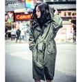 BF vento europeu seção fina impermeável corta-vento com capuz cintura Fina casaco feminino hip-hop moda personalidade maré D1286