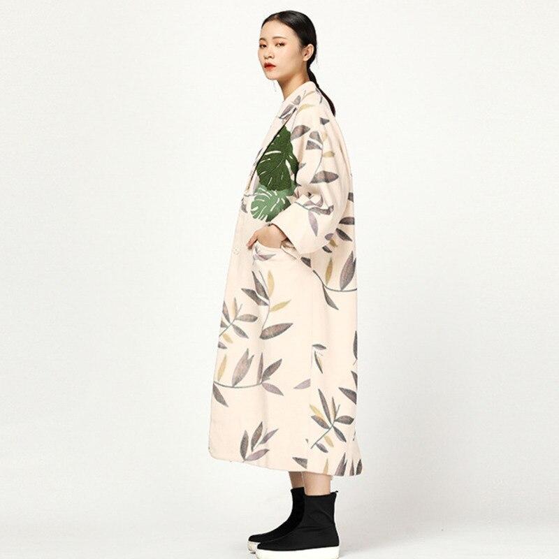 Ta307 Originale Manteau down Nouvelle De Femme Turn Bouton Hiver Apricot Lâche Laine Couvert Longues Feuille Collar 2019 Conception Manches Printemps Lanmrem UFzYwOHAxq