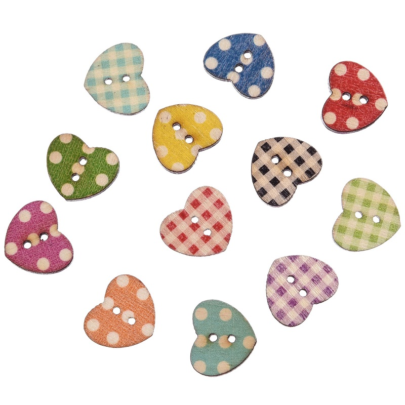 Hot 50pcs wooden buttons mixed color heart pattern for Decorative pins for crafts