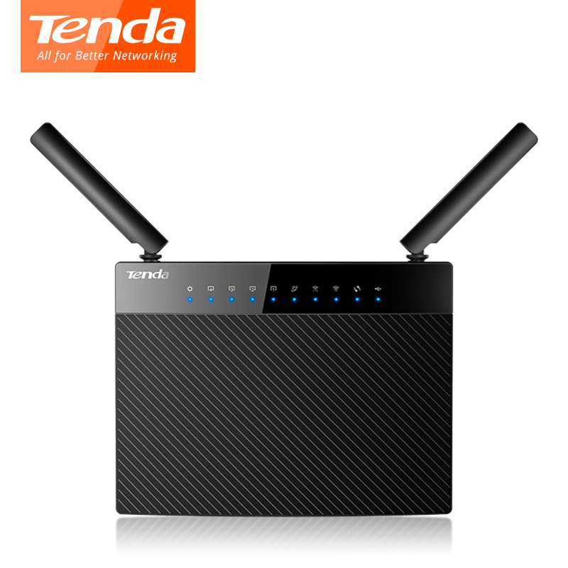 Tenda AC9 Dual Band 128M DDR Wireless wifi Router 1200Mbps USB 2.0 1*WAN+4LAN Gigabit Ports 2.4G 5G 802.11ac English firmware comfast full gigabit core gateway ac gateway controller mt7621 wifi project manager with 4 1000mbps wan lan port 880mhz cf ac200