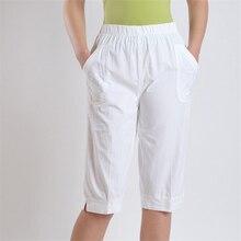 Женские весенние брюки размера плюс, хлопок, длина до середины икры, женские летние тонкие дышащие брюки, женские свободные Капри большого размера