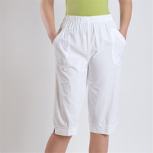 44a8973b96e Woman spring plus size high 100% cotton Calf-length Pants female summer thin  Breathable