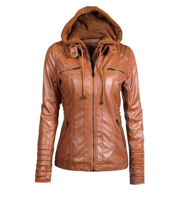 Women's New Arrival Fashion PU   Leather   Hooded Lapel Zipper Pockets Stylish Jackets White/Black/Coffee/Khaki/Apricot