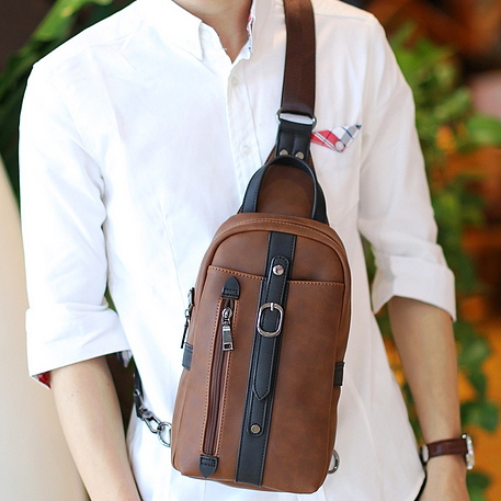 Fashion Business Men Chest Bag Pack Fashion Men Messenger Bags Brand PU Leather One Shoulder Crossbody Bags For Men bolsos mujer