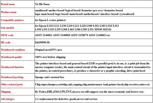 ASSY 2140861 ASSY 2140869 mother board for Epson L110 L111 L130 L210 L211  L220 L300 L301 L303 L310 L313 mainboard logical board