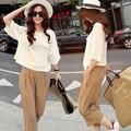 2016 летний новый корейский широкий большой Большой размер женщин свободного покроя с короткими рукавами хлопчатобумажную рубашку и льняные брюки широкую ногу из двух частей комплект