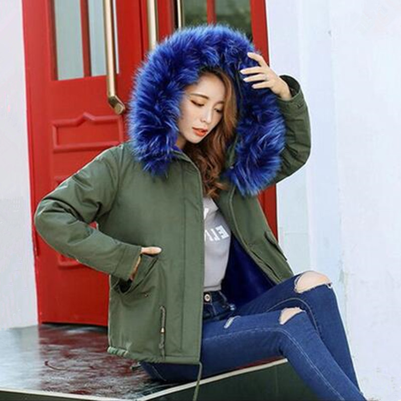 2016 New Women Winter Army Green Jacket Coats Thick Parkas Plus Size Real Raccoon Women Overcoat with Fur Collar Hooded Outwear