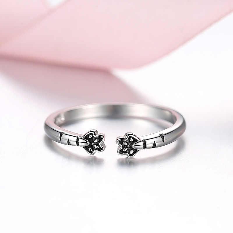 ELESHE, 925 пробы, серебряные Регулируемые кольца на палец, черная эмаль, кошачьи и собачьи лапы, серебряные кольца для женщин, модное ювелирное изделие